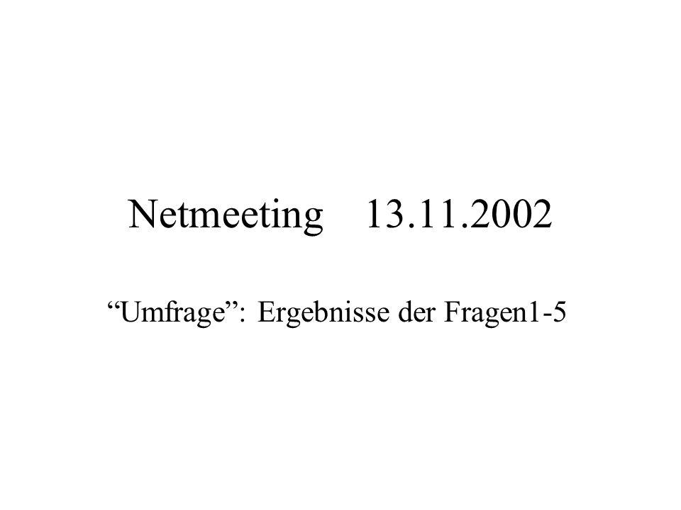Netmeeting 13.11.2002 Umfrage: Ergebnisse der Fragen1-5