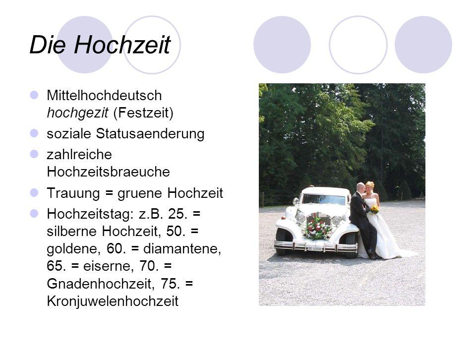 Die Hochzeit Mittelhochdeutsch hochgezit (Festzeit) soziale Statusaenderung zahlreiche Hochzeitsbraeuche Trauung = gruene Hochzeit Hochzeitstag: z.B.