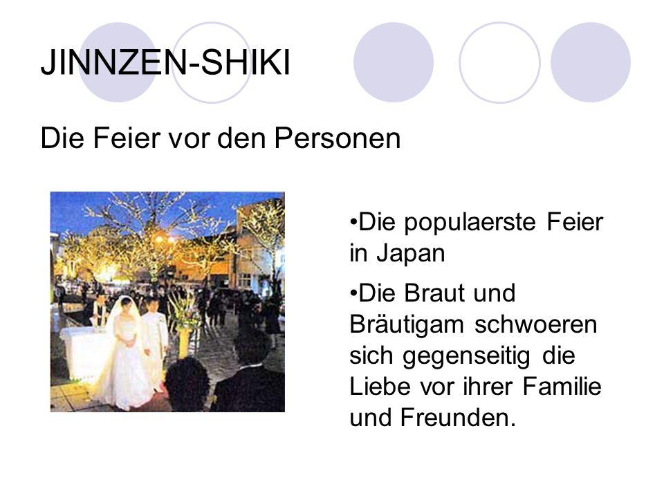 JINNZEN-SHIKI Die Feier vor den Personen Die populaerste Feier in Japan Die Braut und Bräutigam schwoeren sich gegenseitig die Liebe vor ihrer Familie