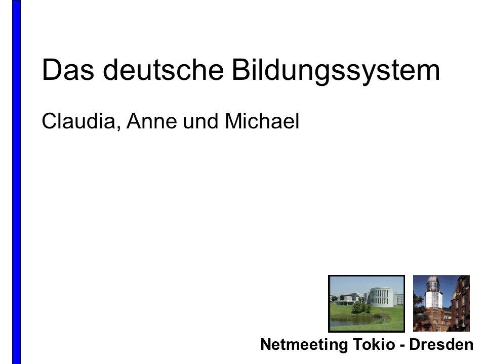 Netmeeting Tokio - Dresden Das deutsche Bildungssystem Claudia, Anne und Michael