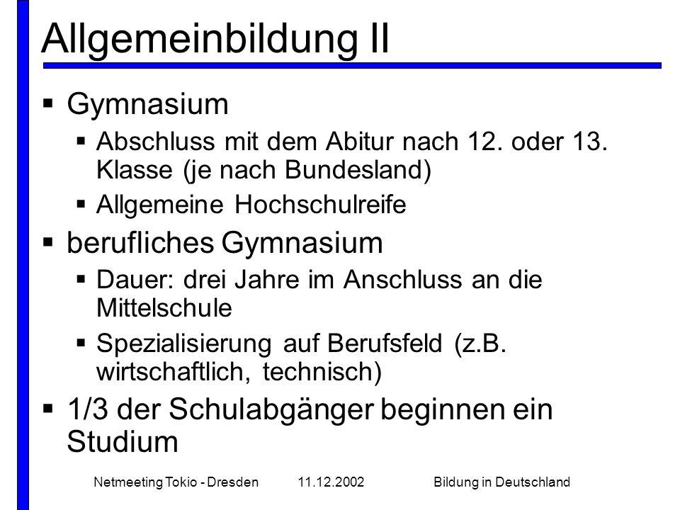 Netmeeting Tokio - Dresden11.12.2002Bildung in Deutschland Allgemeinbildung II Gymnasium Abschluss mit dem Abitur nach 12. oder 13. Klasse (je nach Bu