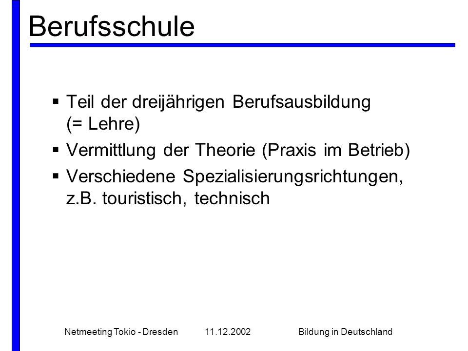 Netmeeting Tokio - Dresden11.12.2002Bildung in Deutschland Berufsschule Teil der dreijährigen Berufsausbildung (= Lehre) Vermittlung der Theorie (Praxis im Betrieb) Verschiedene Spezialisierungsrichtungen, z.B.