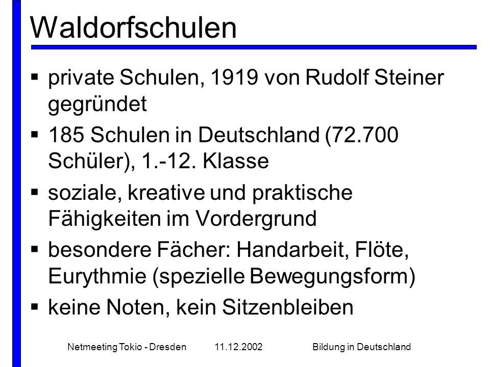 Netmeeting Tokio - Dresden11.12.2002Bildung in Deutschland Waldorfschulen private Schulen, 1919 von Rudolf Steiner gegründet 185 Schulen in Deutschland (72.700 Schüler), 1.-12.