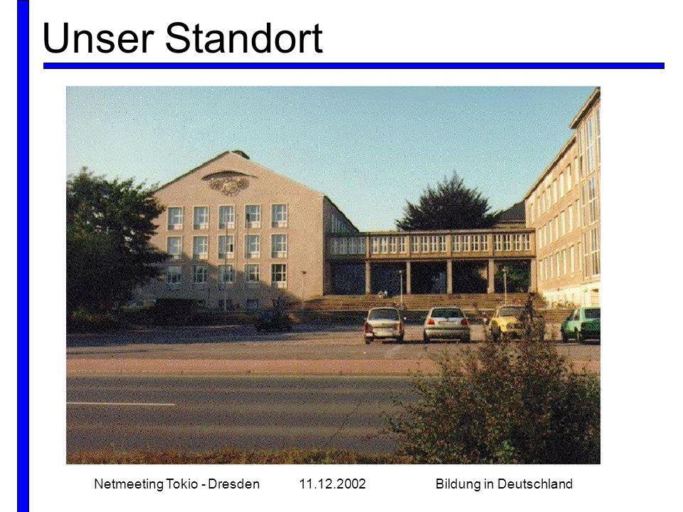 Netmeeting Tokio - Dresden11.12.2002Bildung in Deutschland Unser Standort