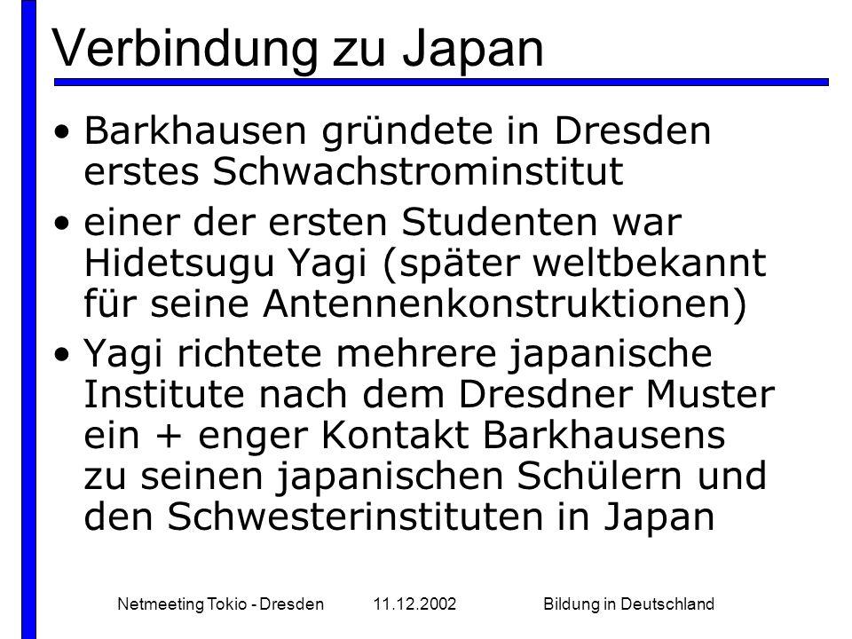 Netmeeting Tokio - Dresden11.12.2002Bildung in Deutschland Verbindung zu Japan Barkhausen gründete in Dresden erstes Schwachstrominstitut einer der er