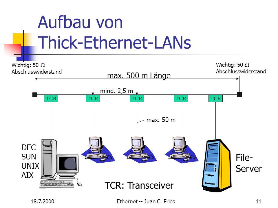 18.7.2000Ethernet -- Juan C. Fries11 Aufbau von Thick-Ethernet-LANs Wichtig: 50 Abschlusswiderstand TCR Wichtig: 50 Abschlusswiderstand File- Server T
