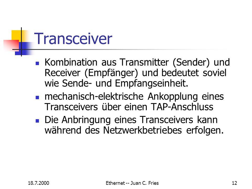 18.7.2000Ethernet -- Juan C. Fries12 Transceiver Kombination aus Transmitter (Sender) und Receiver (Empfänger) und bedeutet soviel wie Sende- und Empf
