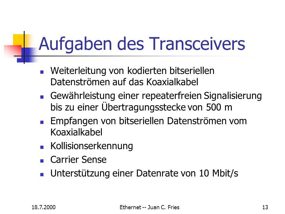 18.7.2000Ethernet -- Juan C. Fries13 Aufgaben des Transceivers Weiterleitung von kodierten bitseriellen Datenströmen auf das Koaxialkabel Gewährleistu