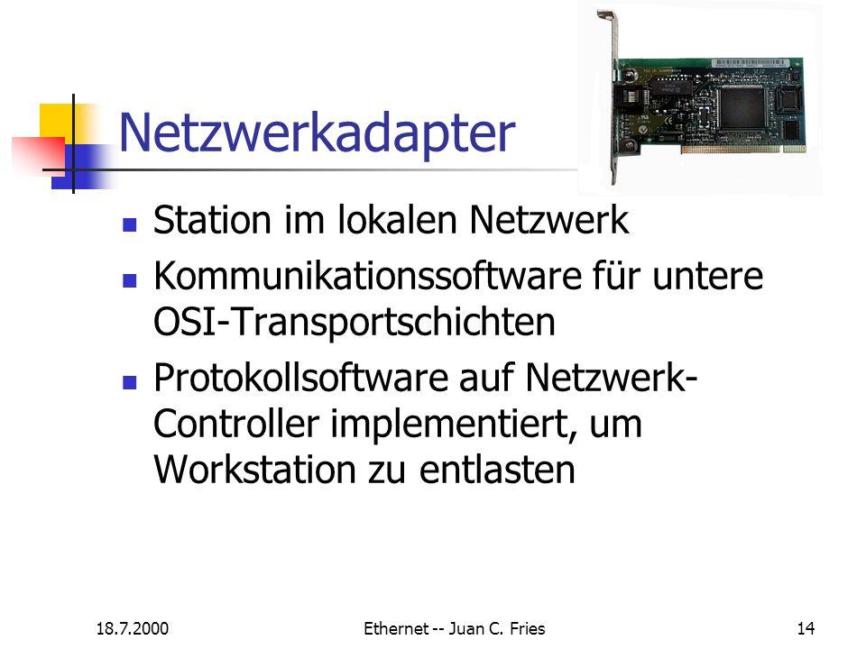 18.7.2000Ethernet -- Juan C. Fries14 Netzwerkadapter Station im lokalen Netzwerk Kommunikationssoftware für untere OSI-Transportschichten Protokollsof