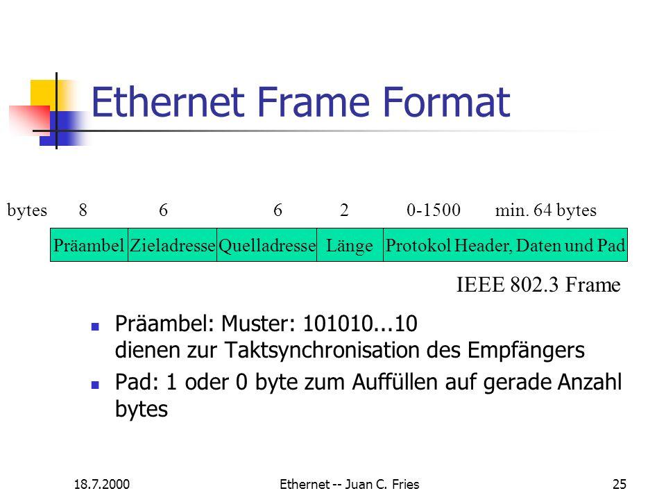 18.7.2000Ethernet -- Juan C. Fries25 Ethernet Frame Format Präambel: Muster: 101010...10 dienen zur Taktsynchronisation des Empfängers Pad: 1 oder 0 b