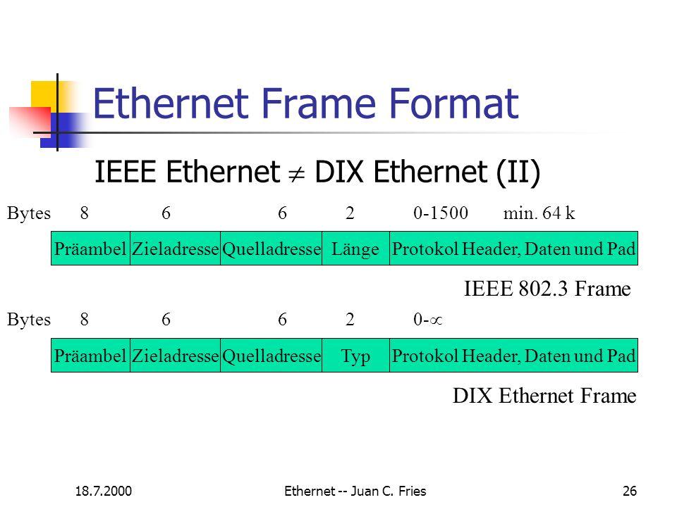 18.7.2000Ethernet -- Juan C. Fries26 Ethernet Frame Format IEEE Ethernet DIX Ethernet (II) PräambelZieladresseQuelladresseLängeProtokol Header, Daten
