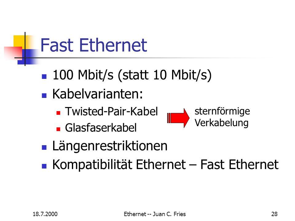 18.7.2000Ethernet -- Juan C. Fries28 100 Mbit/s (statt 10 Mbit/s) Kabelvarianten: Twisted-Pair-Kabel Glasfaserkabel Längenrestriktionen Kompatibilität