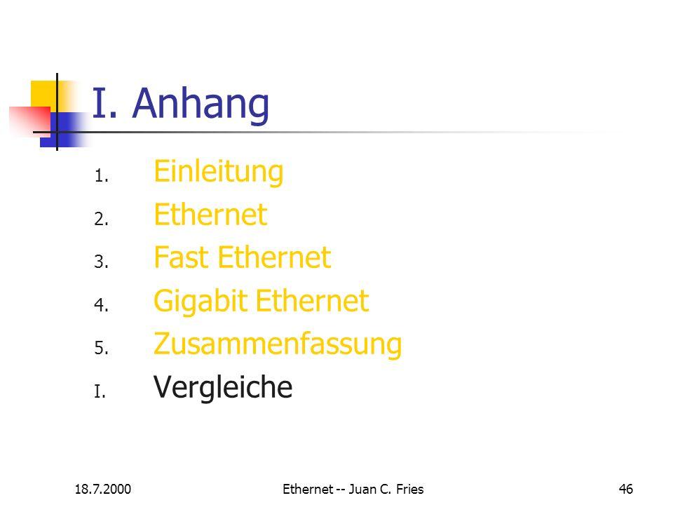 18.7.2000Ethernet -- Juan C. Fries46 I. Anhang 1. Einleitung 2. Ethernet 3. Fast Ethernet 4. Gigabit Ethernet 5. Zusammenfassung I. Vergleiche