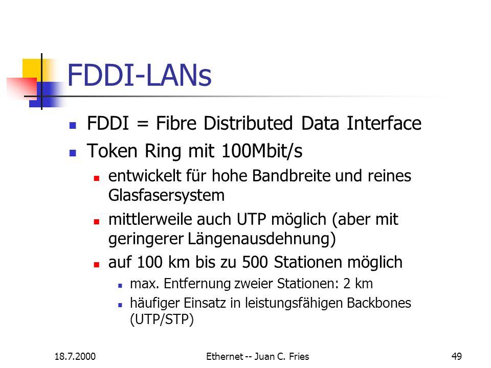 18.7.2000Ethernet -- Juan C. Fries49 FDDI-LANs FDDI = Fibre Distributed Data Interface Token Ring mit 100Mbit/s entwickelt für hohe Bandbreite und rei