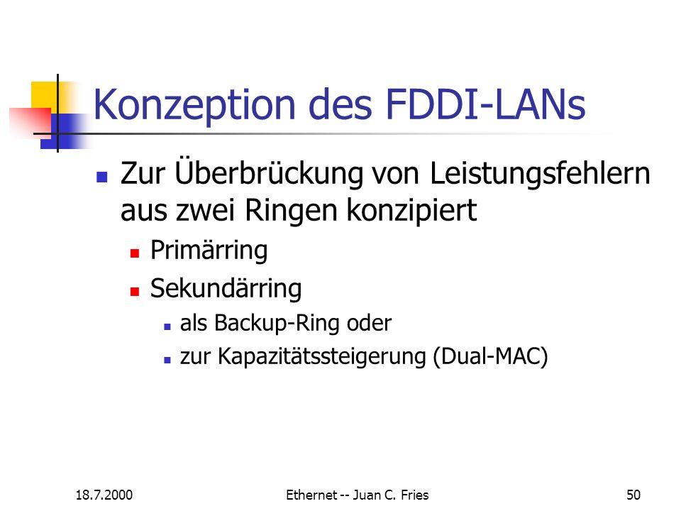 18.7.2000Ethernet -- Juan C. Fries50 Konzeption des FDDI-LANs Zur Überbrückung von Leistungsfehlern aus zwei Ringen konzipiert Primärring Sekundärring