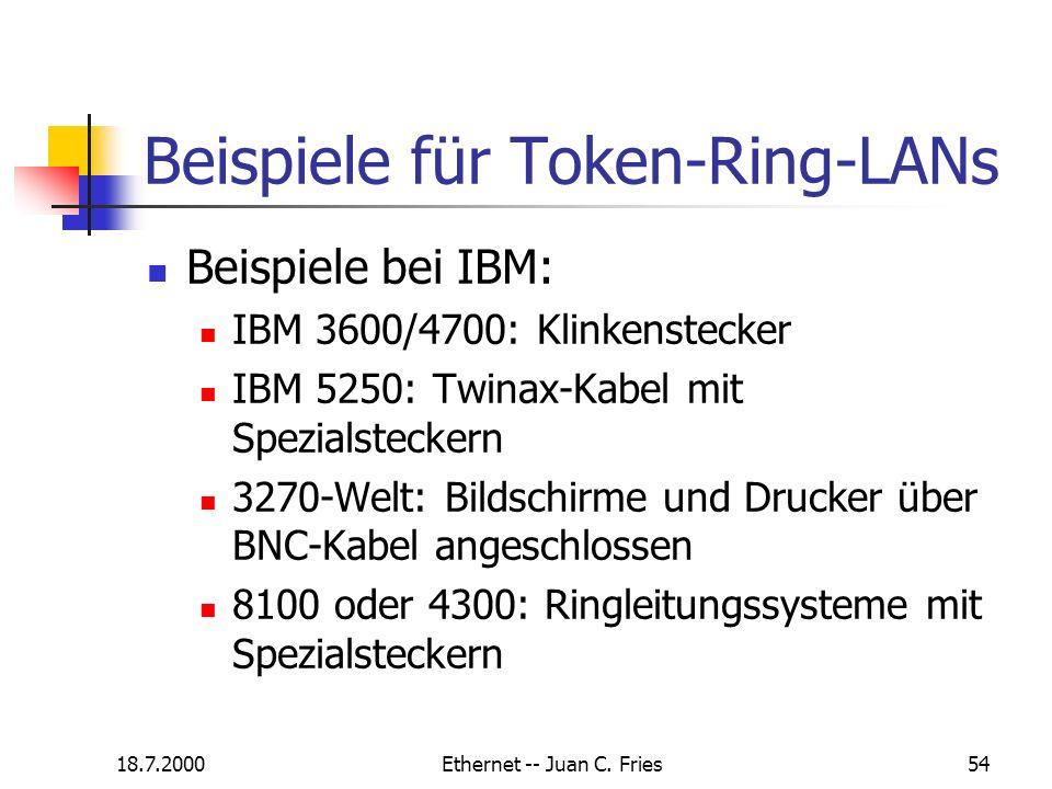 18.7.2000Ethernet -- Juan C. Fries54 Beispiele für Token-Ring-LANs Beispiele bei IBM: IBM 3600/4700: Klinkenstecker IBM 5250: Twinax-Kabel mit Spezial