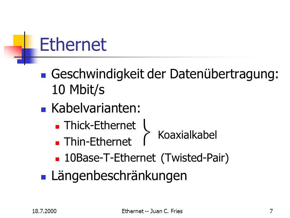 18.7.2000Ethernet -- Juan C. Fries8 Verschiedene Kabeltypen