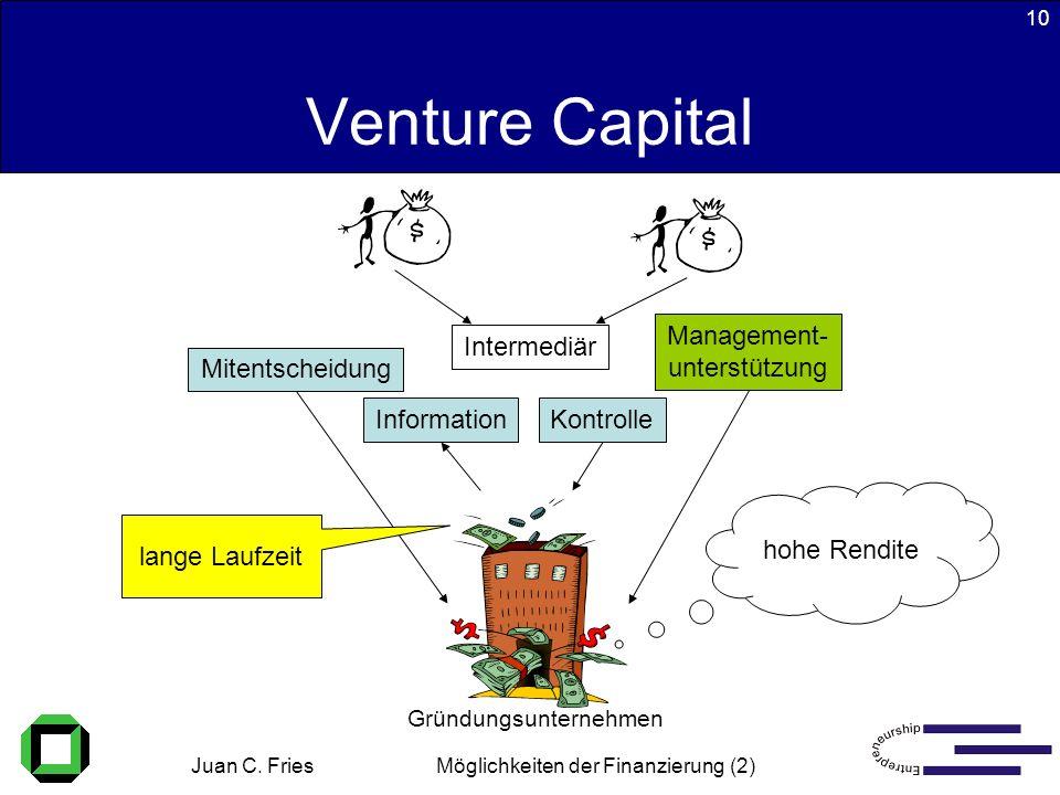 Juan C. Fries 22.01.2003 Möglichkeiten der Finanzierung (2) 10 Venture Capital Intermediär KontrolleInformation Mitentscheidung Management- unterstütz