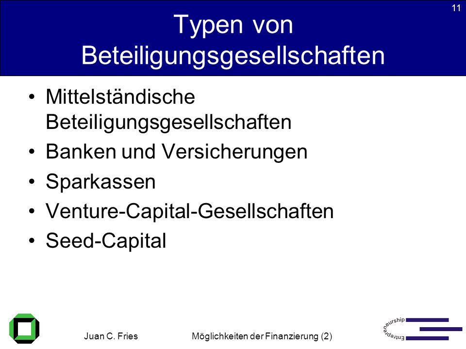 Juan C. Fries 22.01.2003 Möglichkeiten der Finanzierung (2) 11 Typen von Beteiligungsgesellschaften Mittelständische Beteiligungsgesellschaften Banken