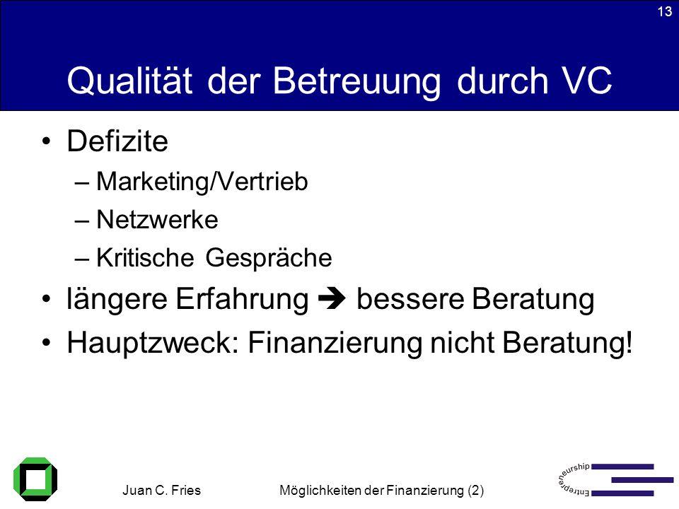Juan C. Fries 22.01.2003 Möglichkeiten der Finanzierung (2) 13 Qualität der Betreuung durch VC Defizite –Marketing/Vertrieb –Netzwerke –Kritische Gesp