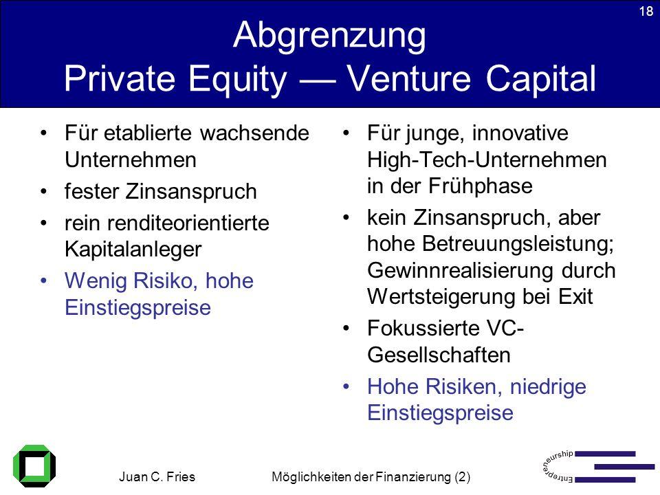 Juan C. Fries 22.01.2003 Möglichkeiten der Finanzierung (2) 18 Abgrenzung Private Equity Venture Capital Für etablierte wachsende Unternehmen fester Z
