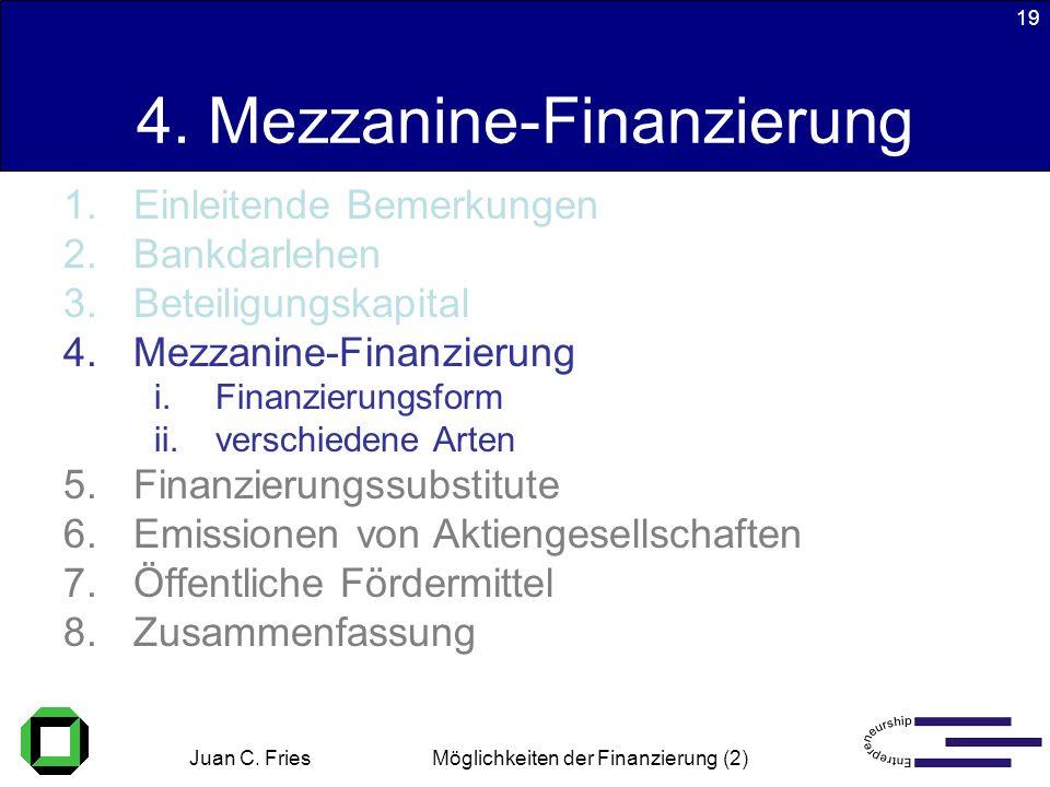 Juan C. Fries 22.01.2003 Möglichkeiten der Finanzierung (2) 19 4. Mezzanine-Finanzierung 1.Einleitende Bemerkungen 2.Bankdarlehen 3.Beteiligungskapita