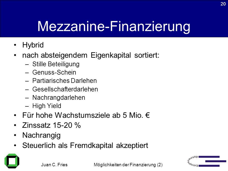 Juan C. Fries 22.01.2003 Möglichkeiten der Finanzierung (2) 20 Mezzanine-Finanzierung Hybrid nach absteigendem Eigenkapital sortiert: –Stille Beteilig