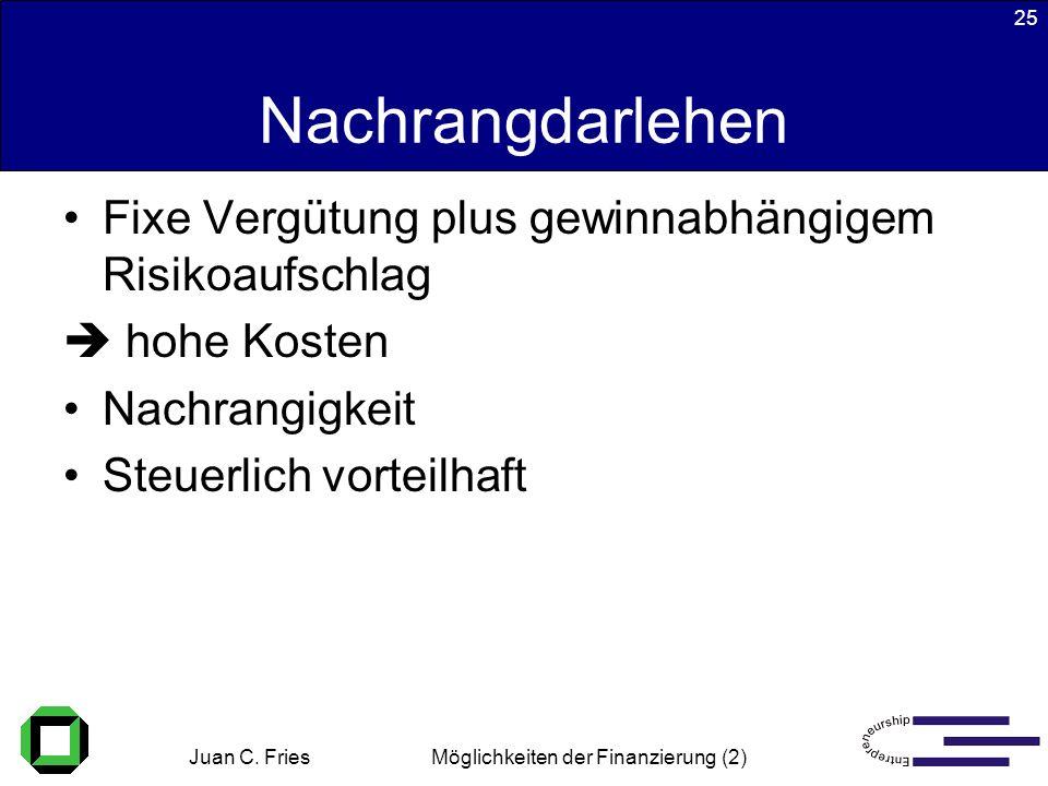 Juan C. Fries 22.01.2003 Möglichkeiten der Finanzierung (2) 25 Nachrangdarlehen Fixe Vergütung plus gewinnabhängigem Risikoaufschlag hohe Kosten Nachr
