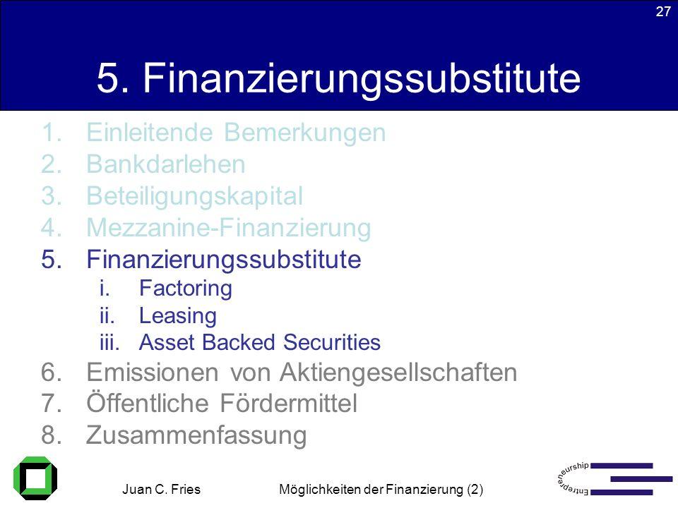 Juan C. Fries 22.01.2003 Möglichkeiten der Finanzierung (2) 27 5. Finanzierungssubstitute 1.Einleitende Bemerkungen 2.Bankdarlehen 3.Beteiligungskapit