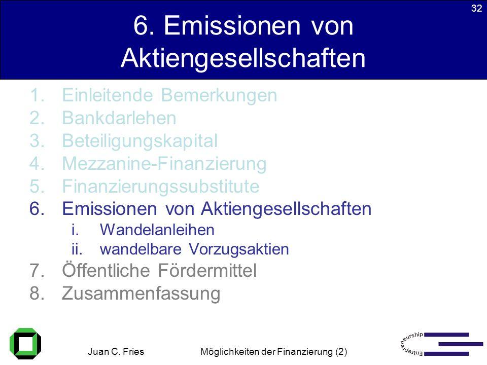 Juan C. Fries 22.01.2003 Möglichkeiten der Finanzierung (2) 32 6. Emissionen von Aktiengesellschaften 1.Einleitende Bemerkungen 2.Bankdarlehen 3.Betei