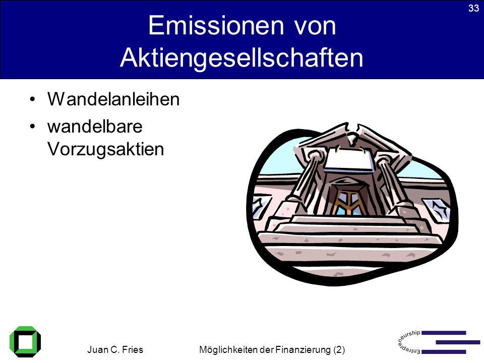 Juan C. Fries 22.01.2003 Möglichkeiten der Finanzierung (2) 33 Emissionen von Aktiengesellschaften Wandelanleihen wandelbare Vorzugsaktien