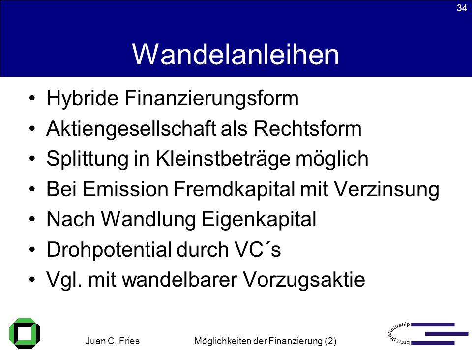 Juan C. Fries 22.01.2003 Möglichkeiten der Finanzierung (2) 34 Wandelanleihen Hybride Finanzierungsform Aktiengesellschaft als Rechtsform Splittung in