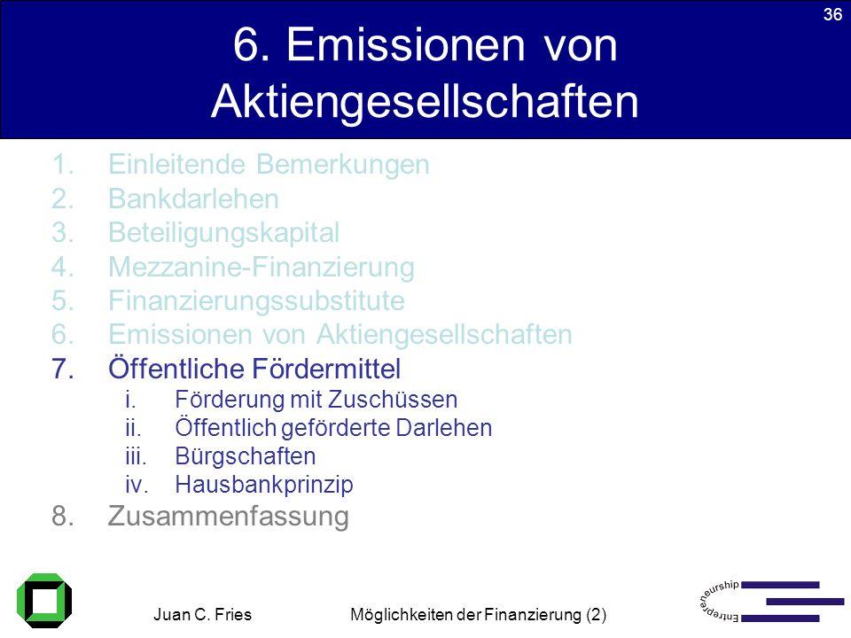 Juan C. Fries 22.01.2003 Möglichkeiten der Finanzierung (2) 36 6. Emissionen von Aktiengesellschaften 1.Einleitende Bemerkungen 2.Bankdarlehen 3.Betei