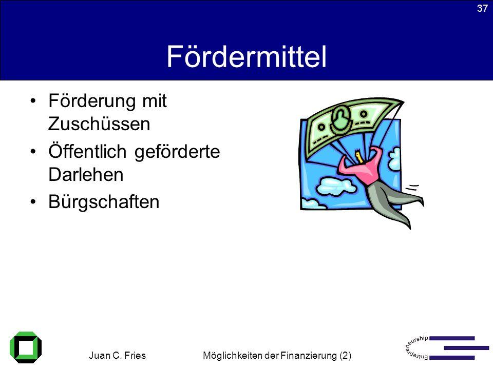 Juan C. Fries 22.01.2003 Möglichkeiten der Finanzierung (2) 37 Fördermittel Förderung mit Zuschüssen Öffentlich geförderte Darlehen Bürgschaften