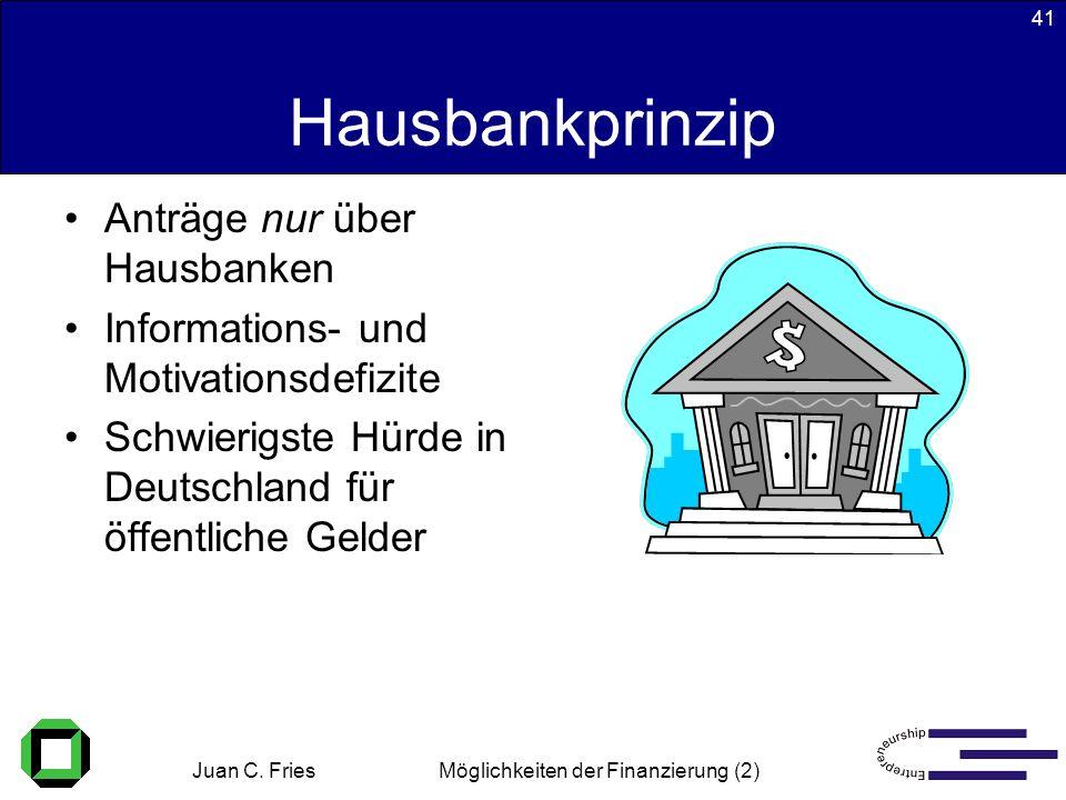 Juan C. Fries 22.01.2003 Möglichkeiten der Finanzierung (2) 41 Hausbankprinzip Anträge nur über Hausbanken Informations- und Motivationsdefizite Schwi