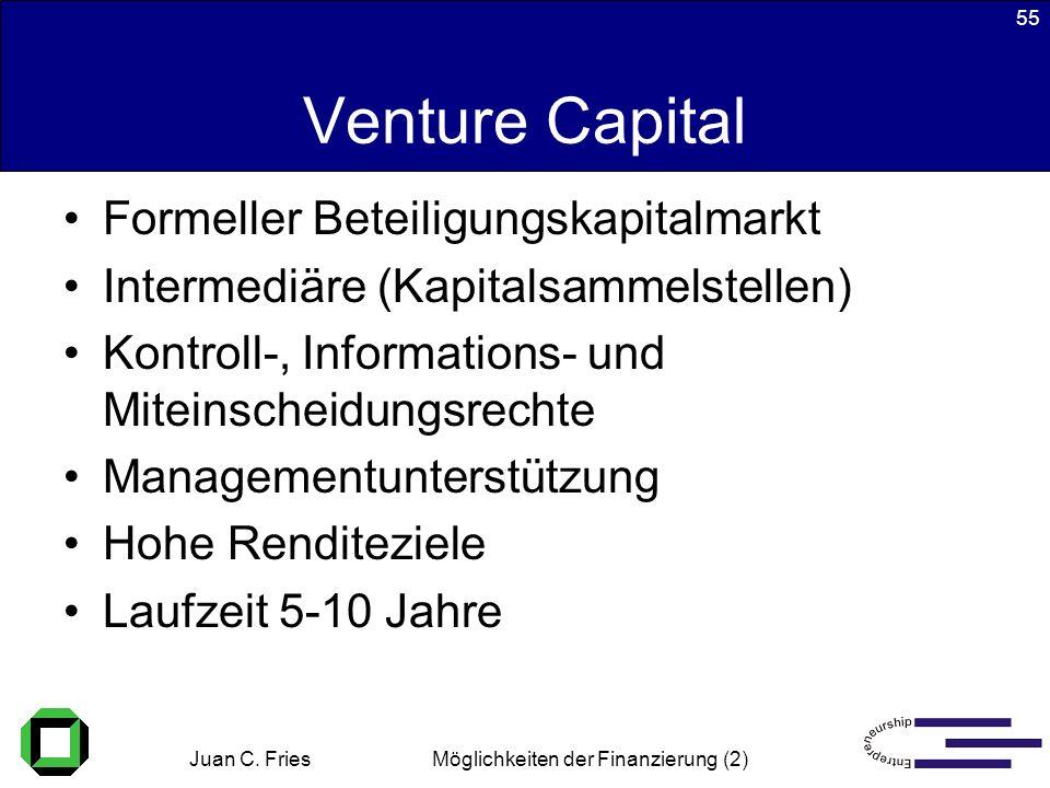 Juan C. Fries 22.01.2003 Möglichkeiten der Finanzierung (2) 55 Venture Capital Formeller Beteiligungskapitalmarkt Intermediäre (Kapitalsammelstellen)