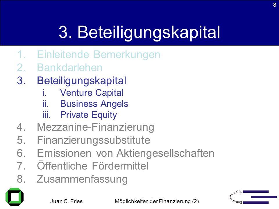 Juan C. Fries 22.01.2003 Möglichkeiten der Finanzierung (2) 8 3. Beteiligungskapital 1.Einleitende Bemerkungen 2.Bankdarlehen 3.Beteiligungskapital i.