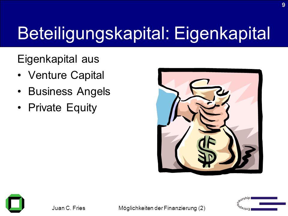 Juan C. Fries 22.01.2003 Möglichkeiten der Finanzierung (2) 9 Beteiligungskapital: Eigenkapital Eigenkapital aus Venture Capital Business Angels Priva