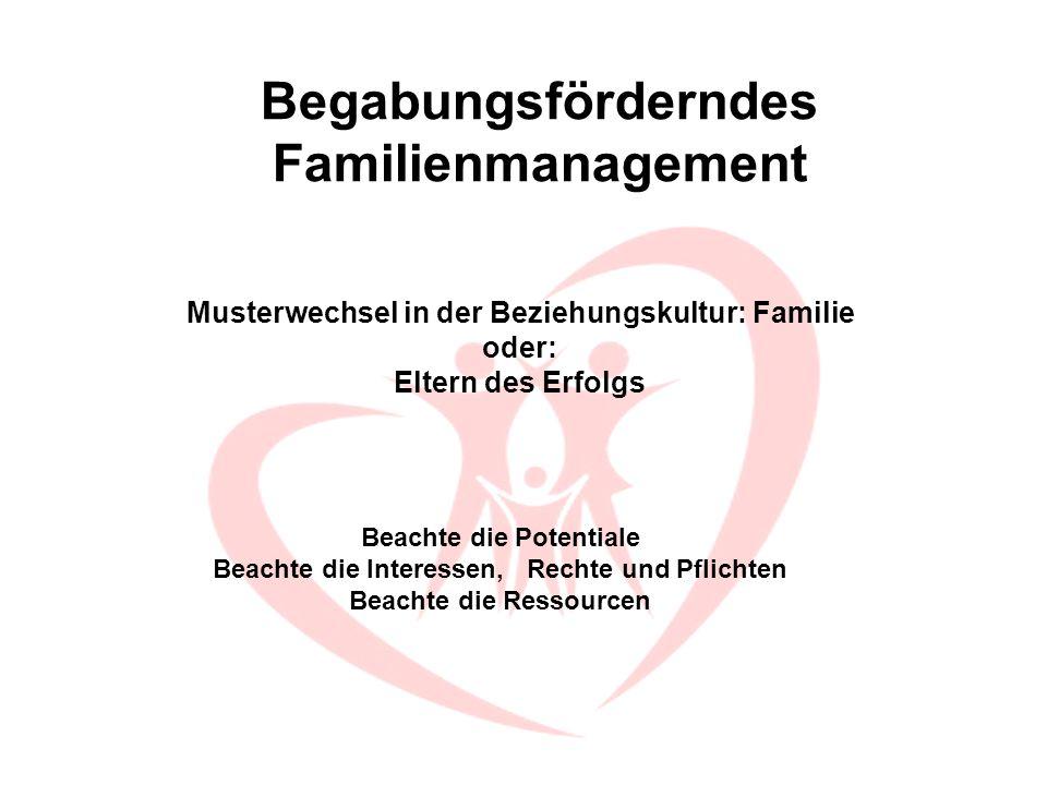 Beachte die Potentiale Beachte die Interessen, Rechte und Pflichten Beachte die Ressourcen Musterwechsel in der Beziehungskultur: Familie oder: Eltern