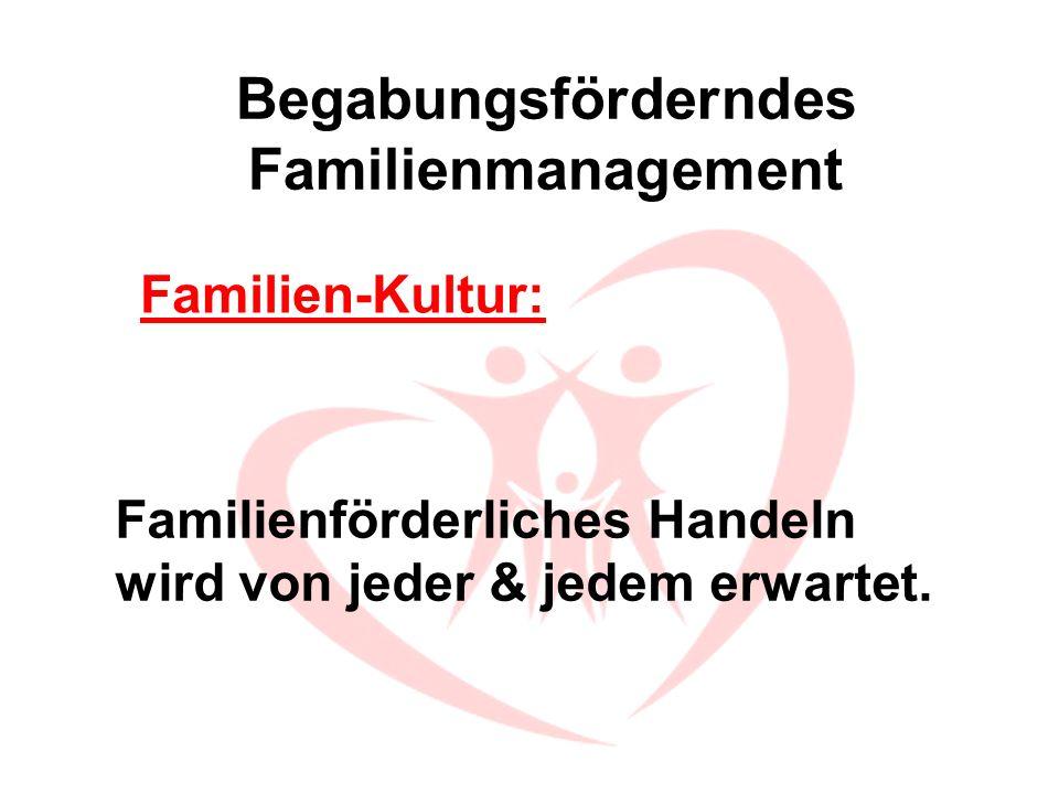 Begabungsförderndes Familienmanagement Familienförderliches Handeln wird von jeder & jedem erwartet. Familien-Kultur:
