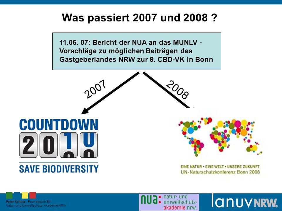 Peter Schütz, Fachbereich 35: Natur- und Umweltschutz- Akademie NRW Was passiert 2007 und 2008 .