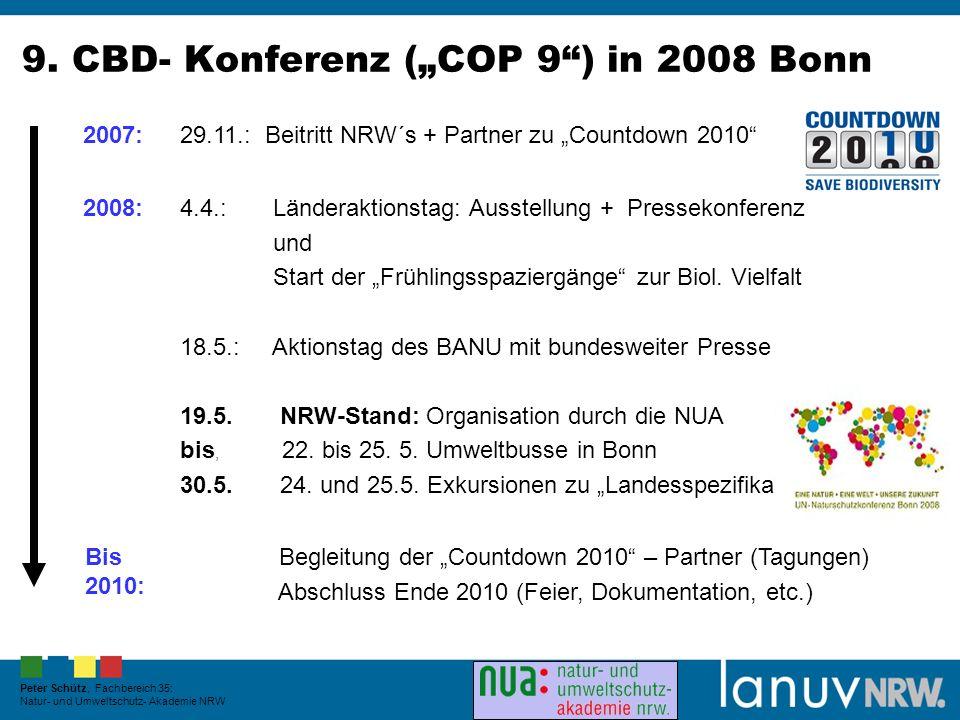 9. CBD- Konferenz (COP 9) in 2008 Bonn 2007: 29.11.: Beitritt NRW´s + Partner zu Countdown 2010 2008:4.4.: Länderaktionstag: Ausstellung + Pressekonfe