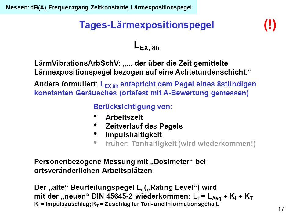 17 Tages-Lärmexpositionspegel L EX, 8h Anders formuliert: L EX,8h entspricht dem Pegel eines 8stündigen konstanten Geräusches (ortsfest mit A-Bewertun