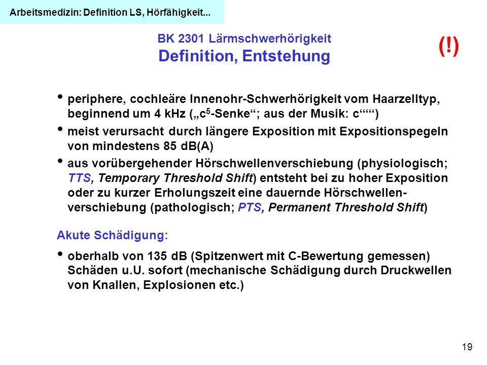 19 BK 2301 Lärmschwerhörigkeit Definition, Entstehung periphere, cochleäre Innenohr-Schwerhörigkeit vom Haarzelltyp, beginnend um 4 kHz (c 5 -Senke; a