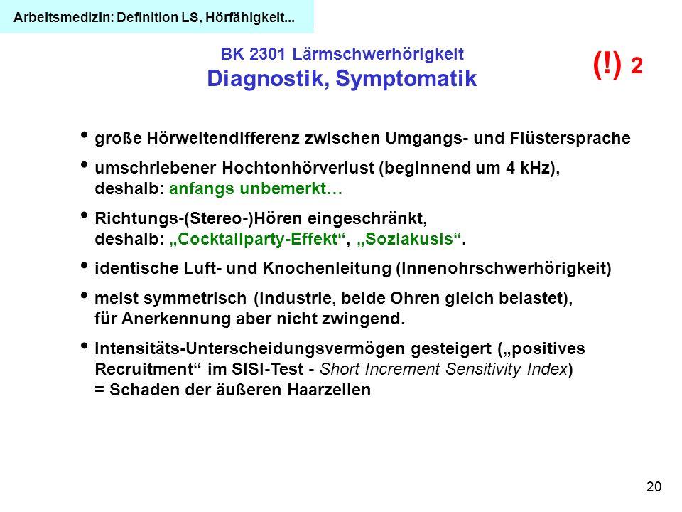 20 BK 2301 Lärmschwerhörigkeit Diagnostik, Symptomatik große Hörweitendifferenz zwischen Umgangs- und Flüstersprache umschriebener Hochtonhörverlust (