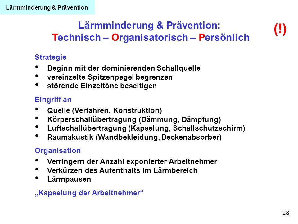 28 Lärmminderung & Prävention: Technisch – Organisatorisch – Persönlich Strategie Beginn mit der dominierenden Schallquelle vereinzelte Spitzenpegel b
