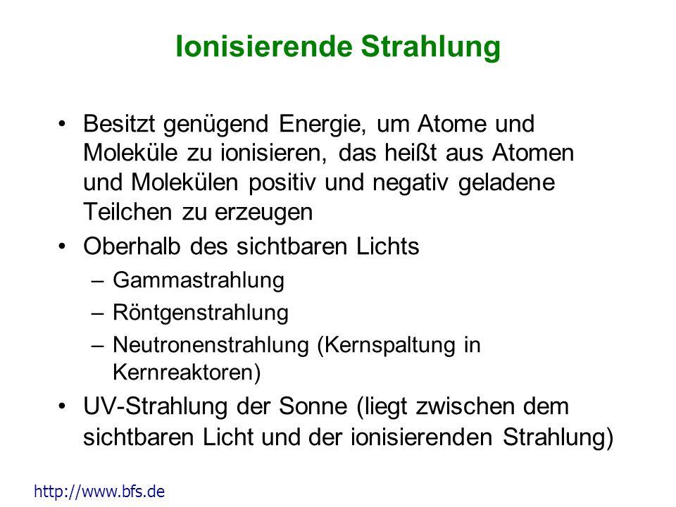 Ionisierende Strahlung Besitzt genügend Energie, um Atome und Moleküle zu ionisieren, das heißt aus Atomen und Molekülen positiv und negativ geladene