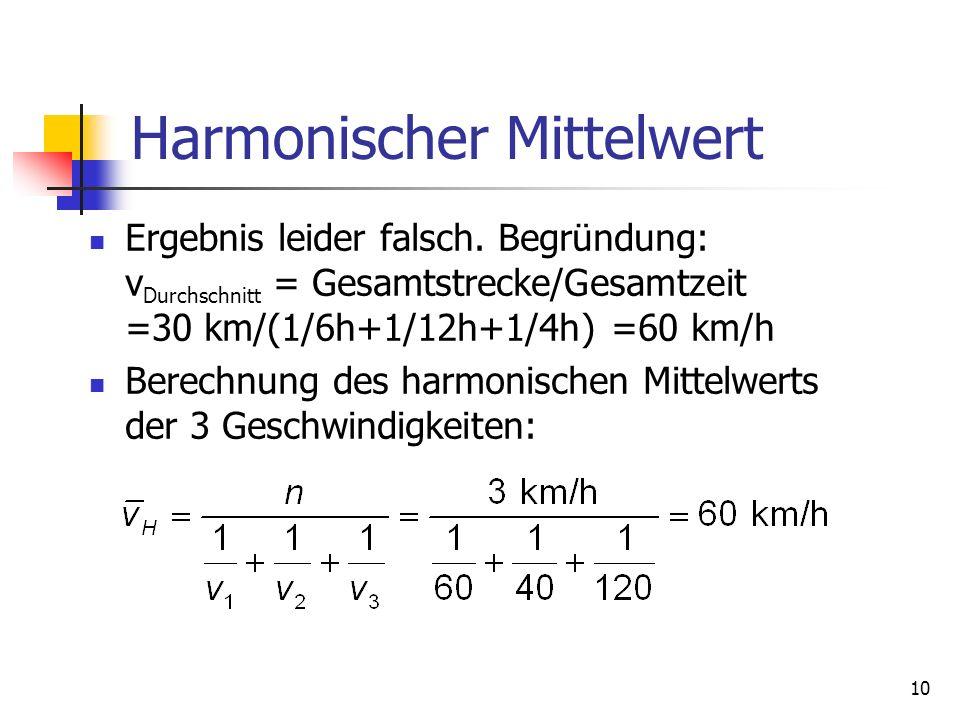 10 Harmonischer Mittelwert Ergebnis leider falsch. Begründung: v Durchschnitt = Gesamtstrecke/Gesamtzeit =30 km/(1/6h+1/12h+1/4h) =60 km/h Berechnung