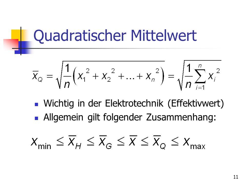 11 Quadratischer Mittelwert Wichtig in der Elektrotechnik (Effektivwert) Allgemein gilt folgender Zusammenhang:
