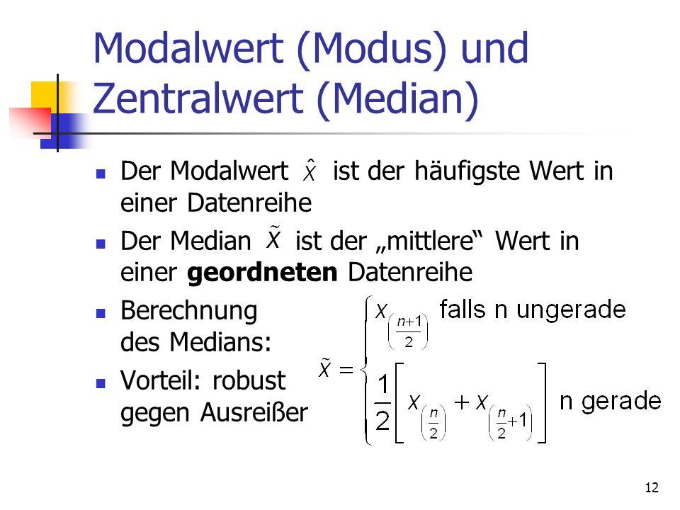 12 Modalwert (Modus) und Zentralwert (Median) Der Modalwert ist der häufigste Wert in einer Datenreihe Der Median ist der mittlere Wert in einer geord